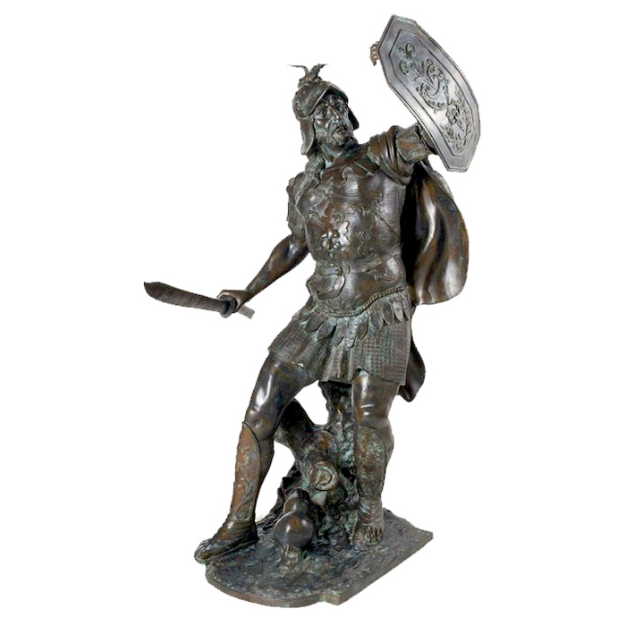 SRB992455 Bronze Knight with Armor & Sword Sculpture by Metropolitan Galleries Inc
