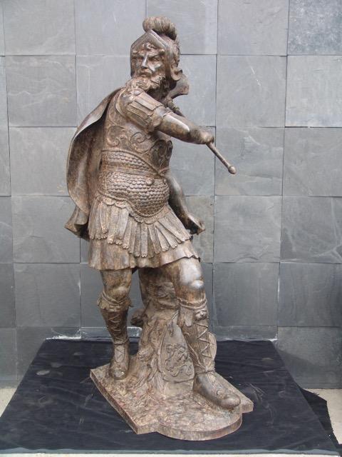 Cast Bronze Standing Knight in Armor Swinging Sword Sculpture