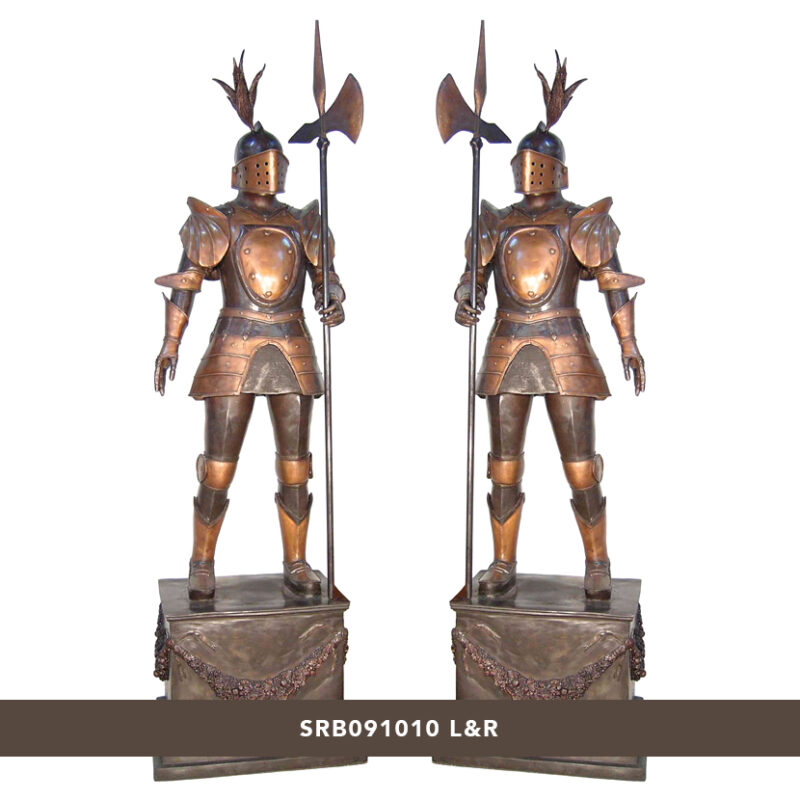 SRB091010 Bronze Knights on Pedestals Sculpture Set Metropolitan Galleries Inc.