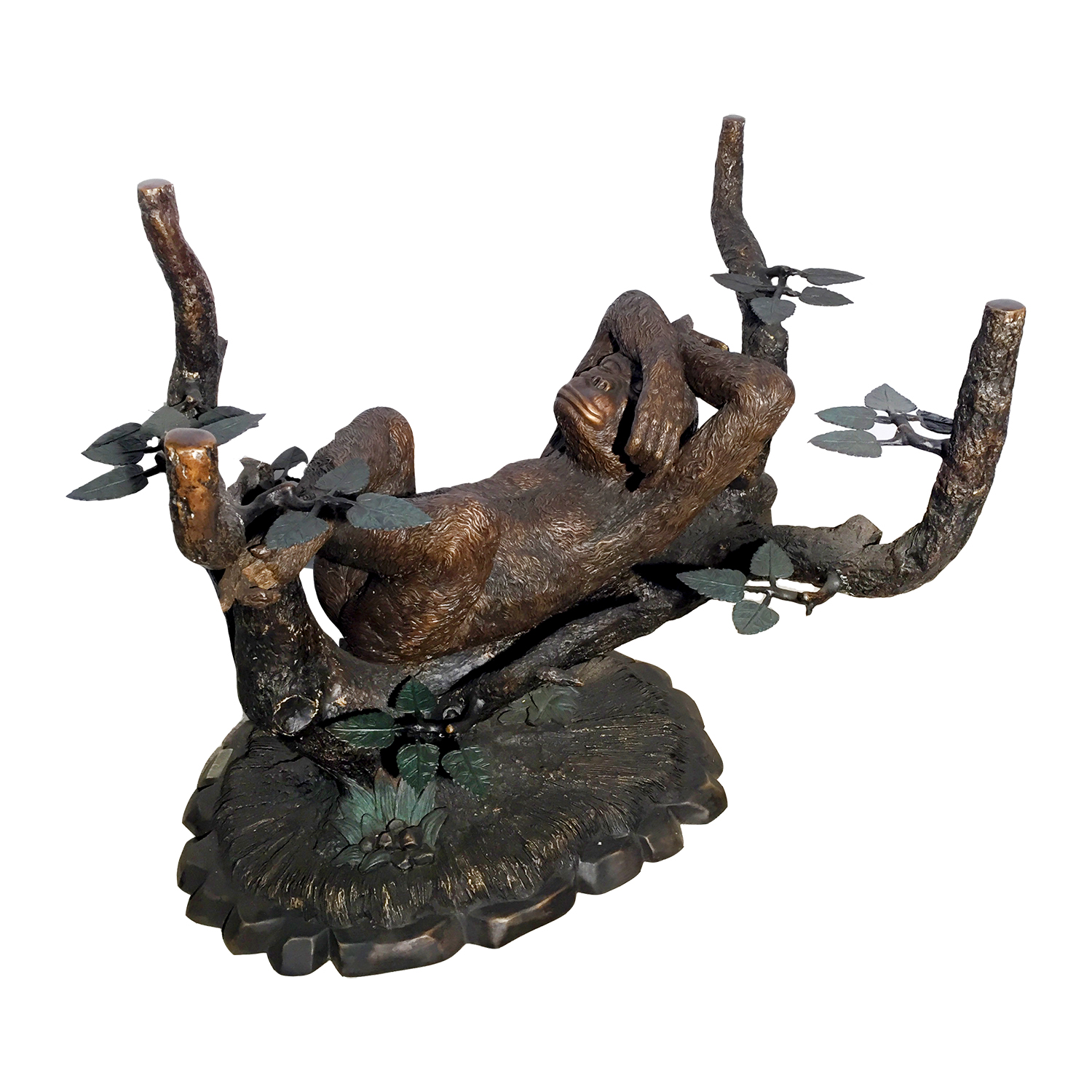 SRB20442 Bronze Monkey In Tree Table Base Sculpture Metropolitan Galleries  Bronze Sculpture Wholesale