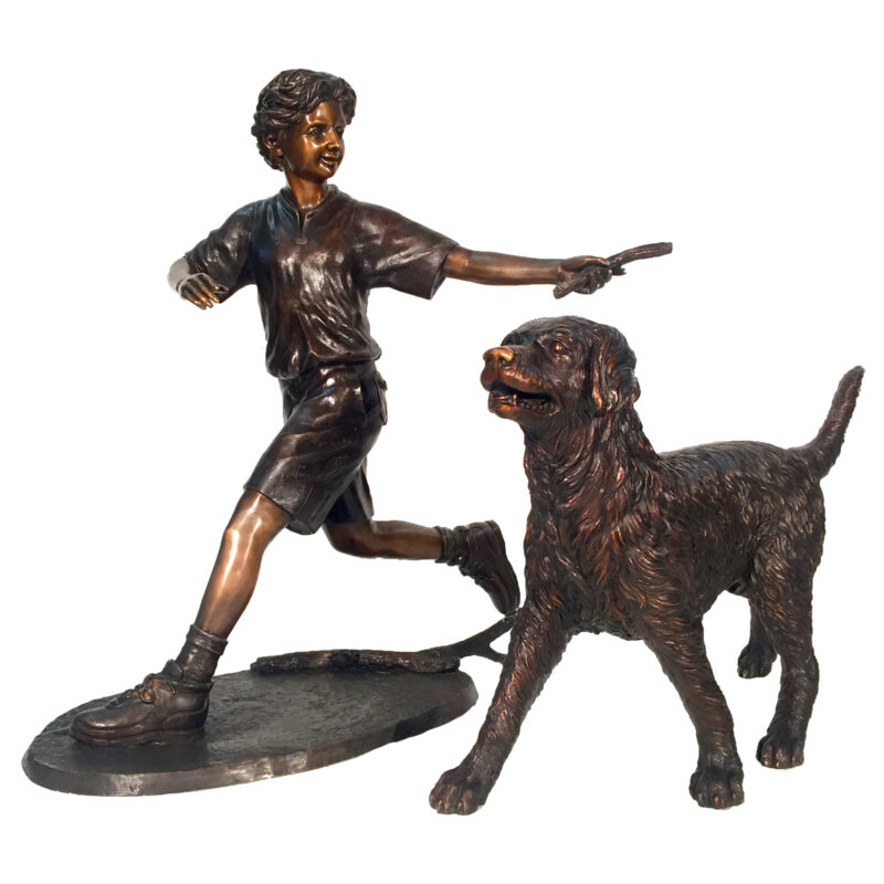 srb25131 Bronze Boy and Golden Retriever Sculpture Set Metropolitan Galleries Bronze Sculpture Wholesale