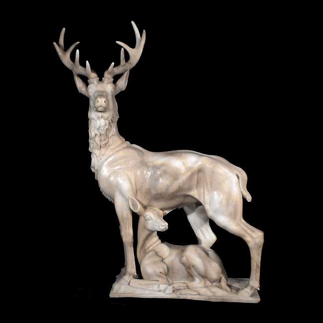 JBA111 Marble Deer & Doe Sculpture Metropolitan Galleries Inc.