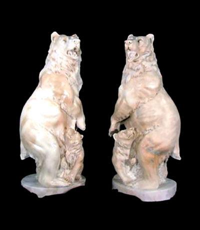 JBA115 Marble Standing Bear Sculpture Set Metropolitan Galleries Inc.