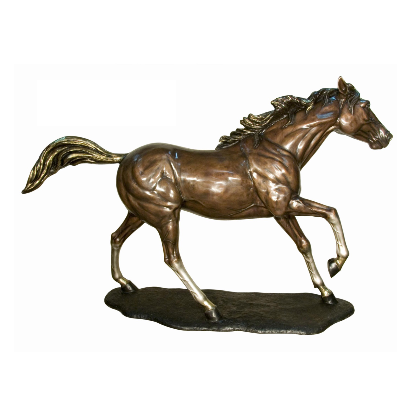 Bronze Galloping Horse on Base Sculpture Metropolitan Galleries Inc.