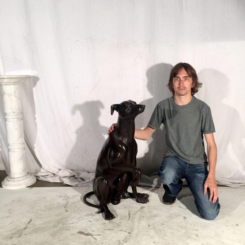 Cast Bronze Whippet Dog Statue Metropolitan Galleries Inc.