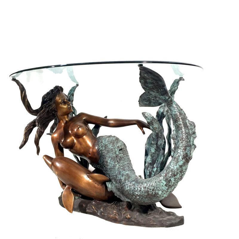 Cast Bronze Mermaid with Dolphin Table Base Sculpture