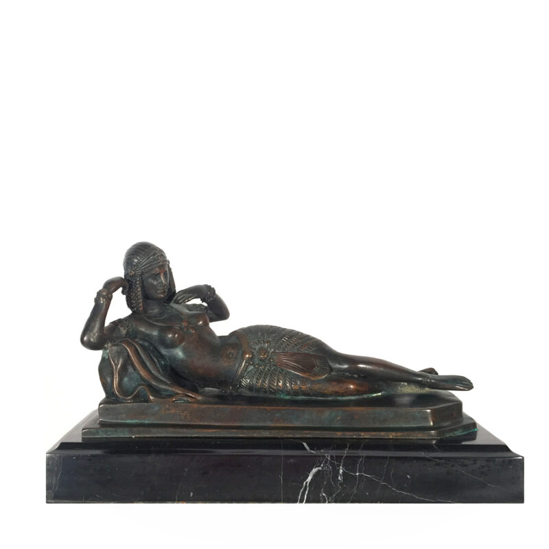 Cast Bronze Cleopatra Sculpture Black Marble Base Metropolitan Galleries Inc.