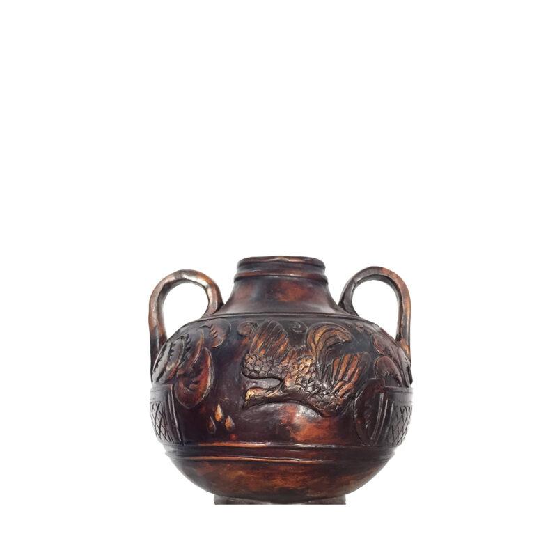 Metropolitan Galleries Inc. Cast Bronze Table Top Vase with Handles and Flying Bird
