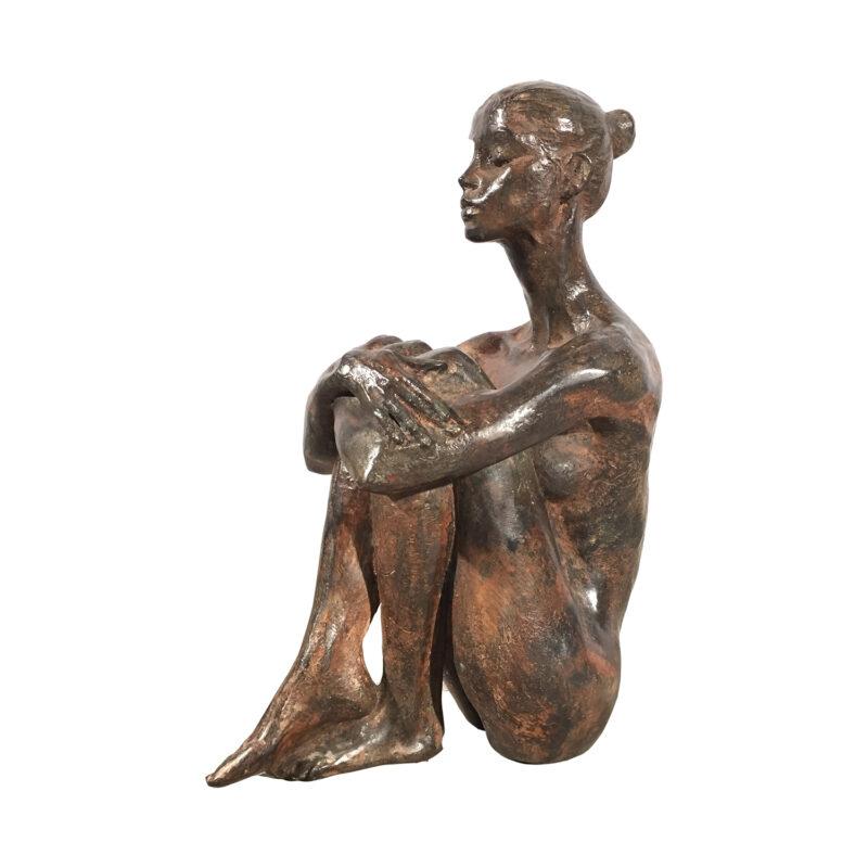 Cast Bronze Contemporary Thai Serenity Woman Statue Metropolitan Galleries Bronze Statues