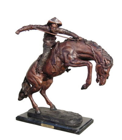 Cast Bronze Frederick Remington Wolly Chaps Table Top Sculpture Metropolitan Galleries Bronzes