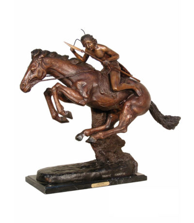 Cast Bronze Frederick Remington Cheyenne Tabletop Sculpture Metropolitan Galleries Inc. bronzes