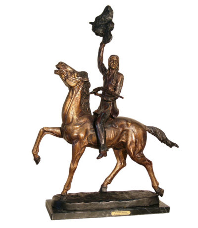 Cast Bronze Frederick remington Buffalo Signal Table top Sculpture Metropolitan Galleries Inc. bronzes