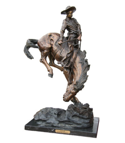 Cast Bronze Frederick Remington Outlaw Tabletop Sculpture Metropolitan Galleries Inc bronzes