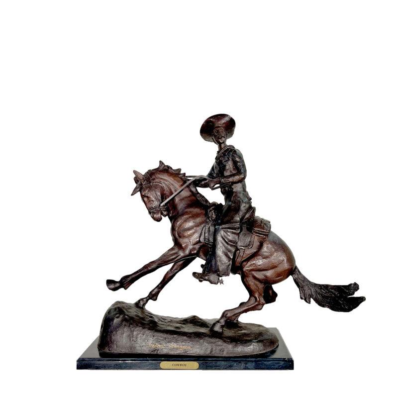 SRB057344 Bronze Remington 'Cowboy' Table-top Sculpture by Metropolitan Galleries Inc