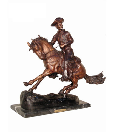 Cast Bronze Frederick Remington Cowboy on Horse Tabletop Sculpture Metropolitan Galleries Inc bronzes