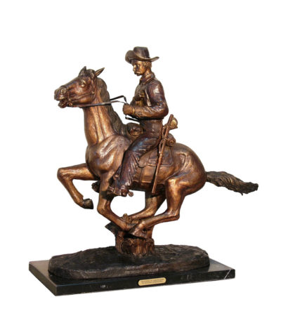 Cast Bronze Frederick Remington Trooper of the Plain Tabletop Sculpture Metropolitan Galleries IInc bronzes