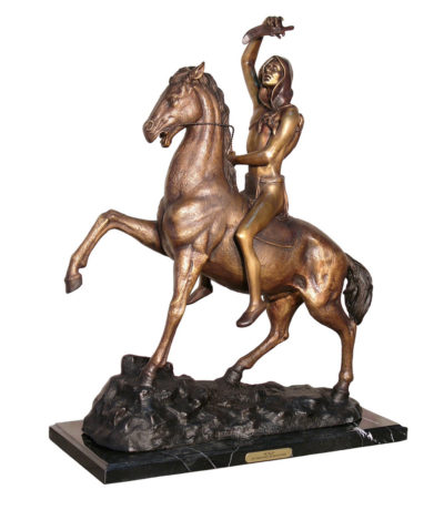 Cast Bronze Frederick Remington Scalp Tabletop Sculpture Metropolitan Galleries bronzes