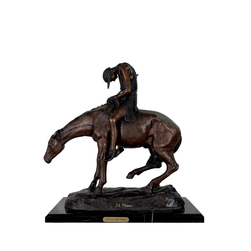 SRB057390 Bronze James Frasier 'End of the Trail' Table-top Sculpture by Metropolitan Galleries Inc