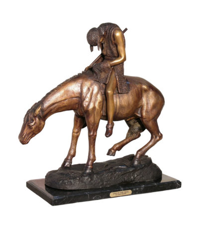 Cast Bronze Frederick remington End of the Trail Tabletop Sculpture Metropolitan Galleries Inc bronzes