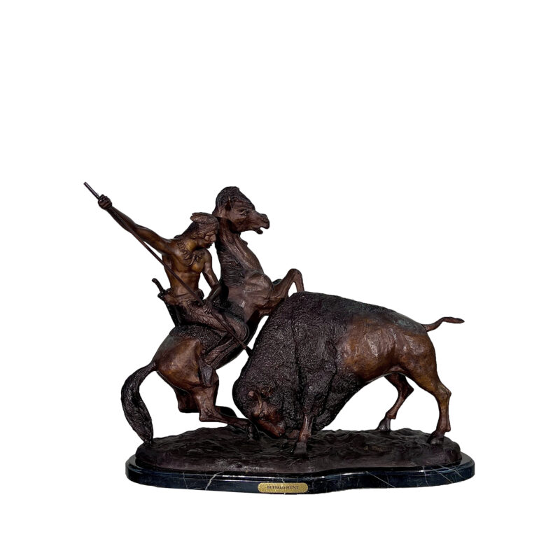 SRB057420 Bronze Charles M Russell 'Buffalo Hunt' Table-top Sculpture by Metropolitan Galleries Inc