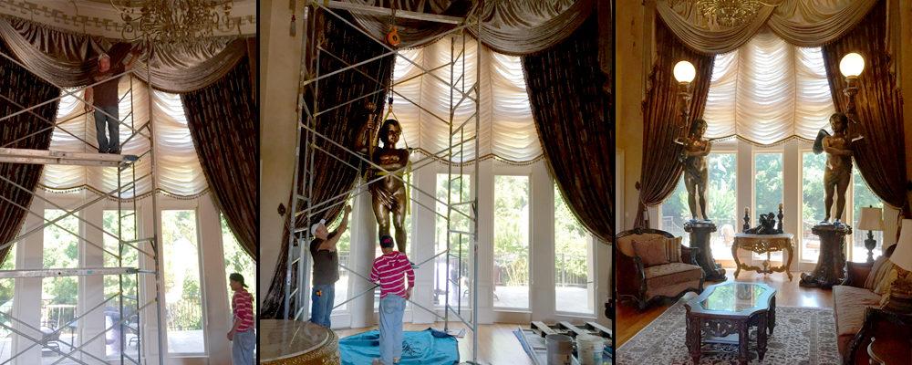 Massive 15′ Bronze Cupid Torchere Sculpture Set Installation