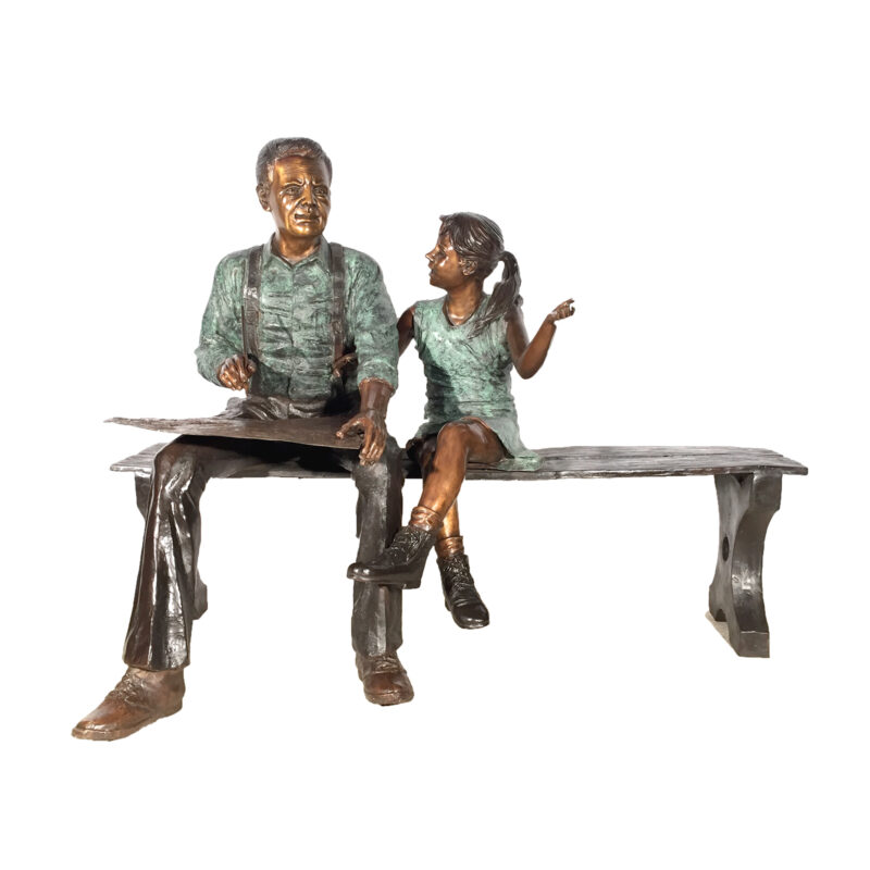 Cast Bronze Grandfather & Granddaughter Reading on Bench Statue Metropolitan Galleries Inc High Point North Carolina