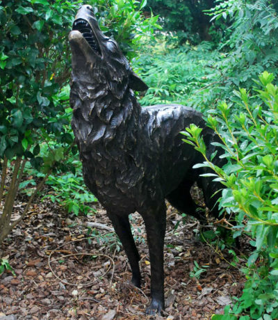 Cast Bronze Standing Wolf Sculpture Metropolitan Galleries Inc Bronze Statuary and Fountains