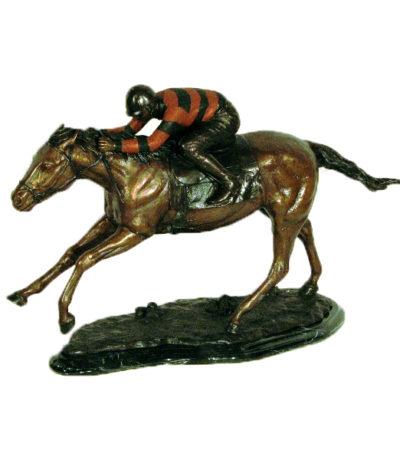 SRB49389 Bronze Jockey on Horse Sculpture Metropolitan Galleries Inc.