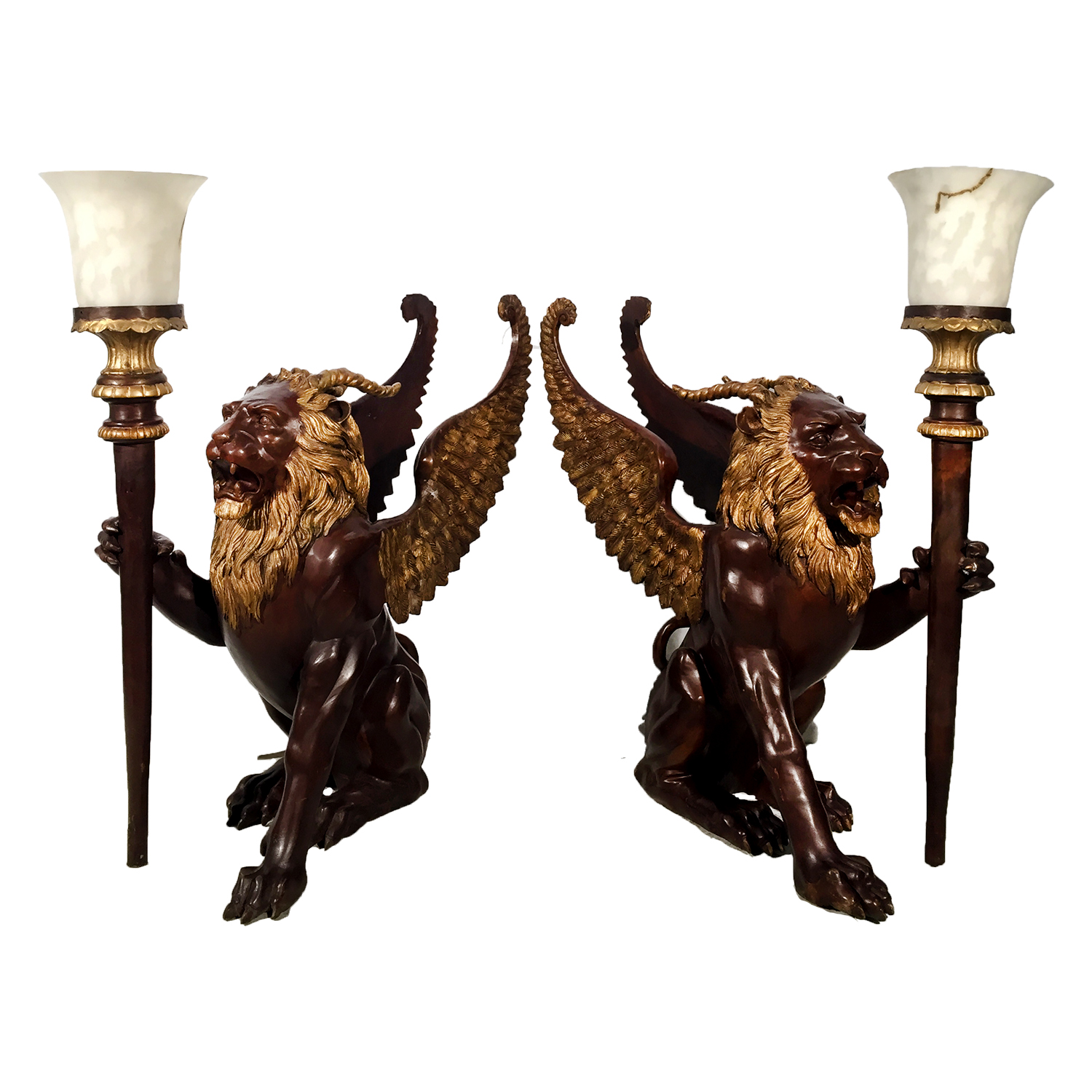 Bronze Winged Lion Lamps Sculpture Set Metropolitan