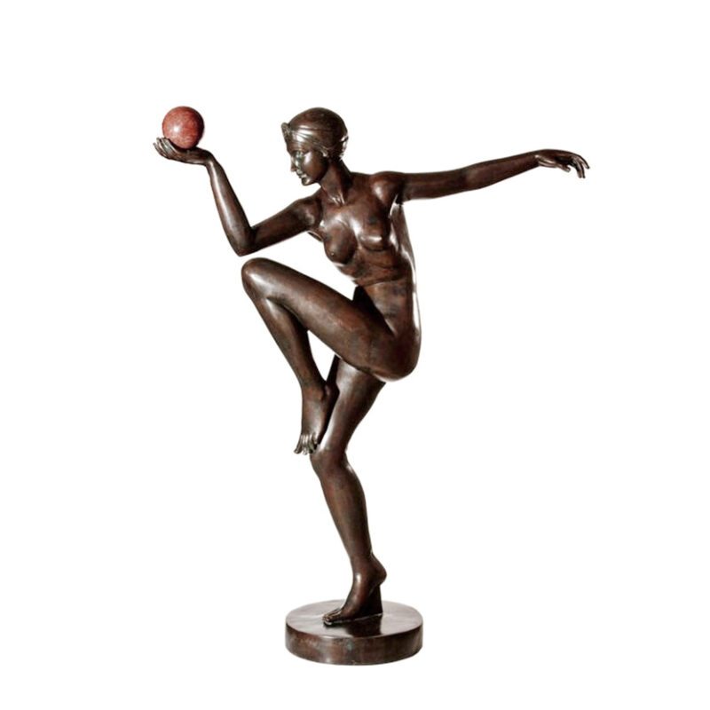 SRB89012 Bronze Art Deco Nude Lady Dancer Fountain by Metropolitan Galleries Inc