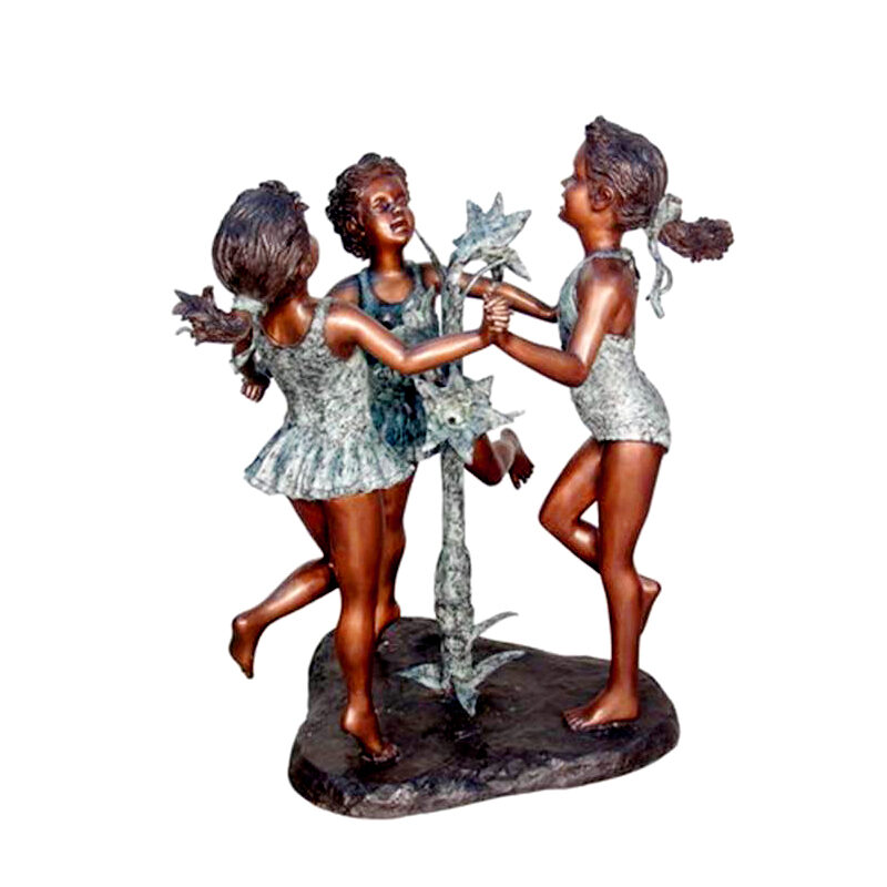 Metropolitan Galleries Cast Bronze Dancing Three Girls Fountain Sculpture