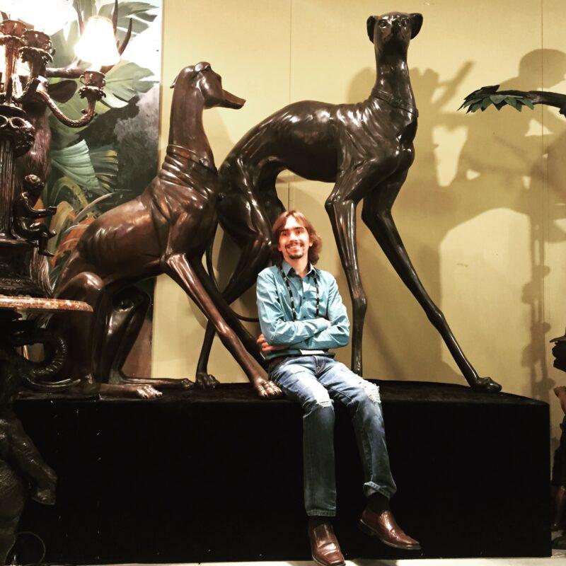 Cast Bronze Standing Greyhound Dog Sculpture Set Metropolitan Galleries Bronze Sculpture and Bronze Fountains High Point North Carolina Interior Designers Whilesale