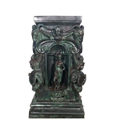 Cast Bronze Mythological Pedestal with Rams Head Metropolitan Galleries Inc.