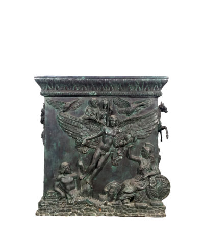 Cast Bronze Mythological Pedestal Sculpture with Horses Metropolitan Galleries Inc.