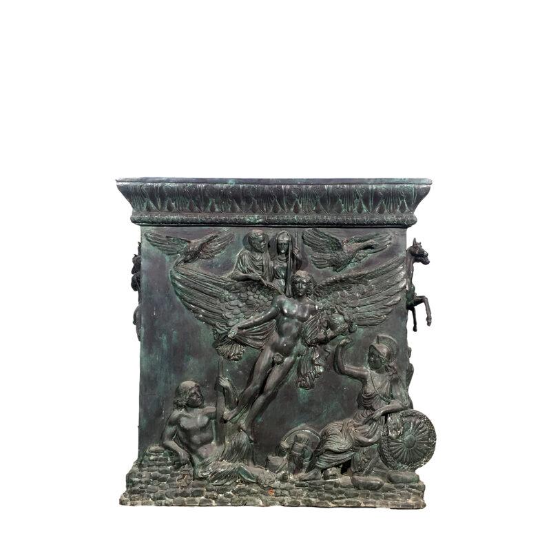 Cast Bronze Mythological Pedestal Sculpture with Horses Metropolitan Galleries Inc.