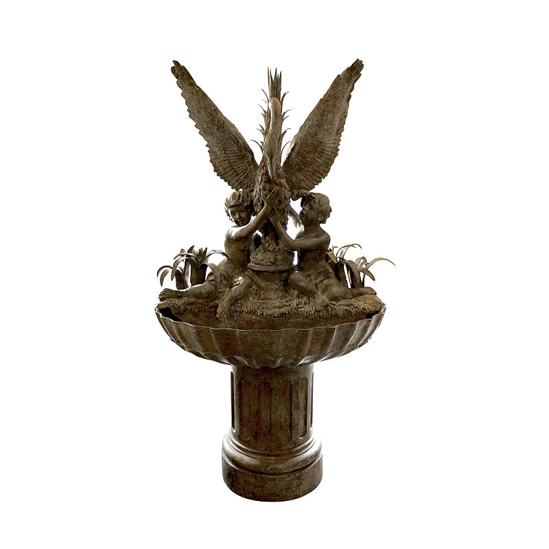 SRB87042 Bronze Two Children with Swan in Foliage Bowl Fountain by Metropolitan Galleries Inc