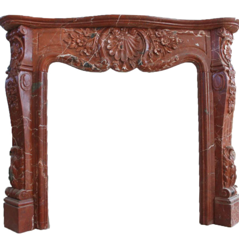 Hand Carved Red Marble Fire Place Mantle Elegant Floral Design Metropolitan Galleries Inc Steven Bennett