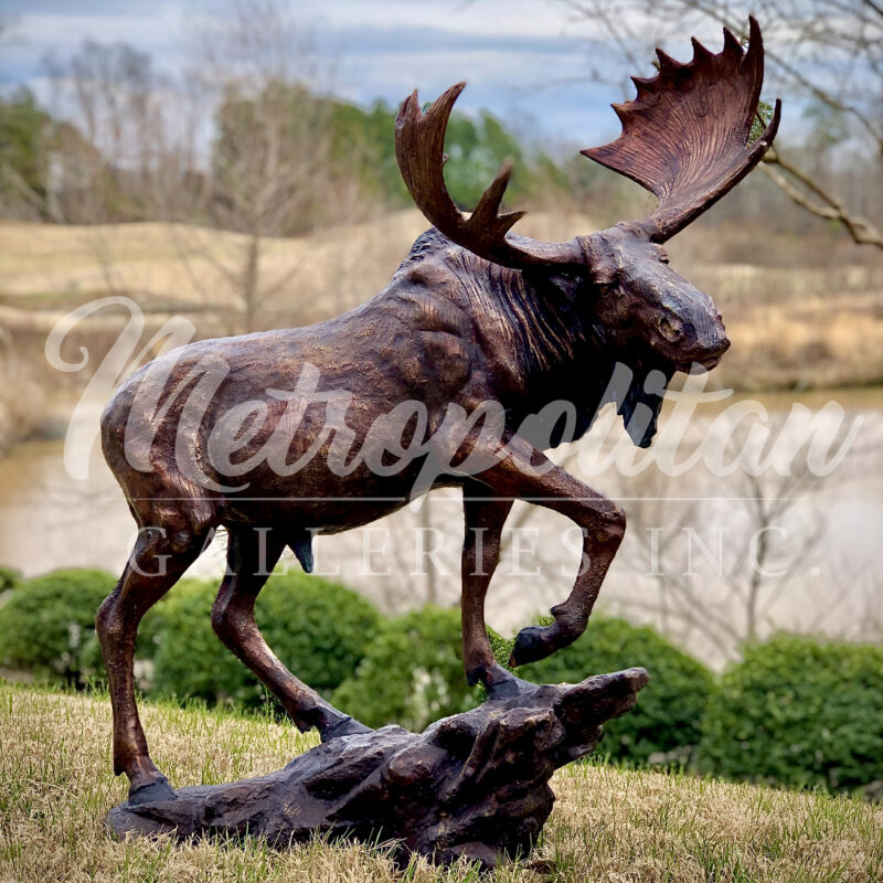SRB10063 Bronze Moose on Rock Sculpture by Metropolitan Galleries Inc Vignette