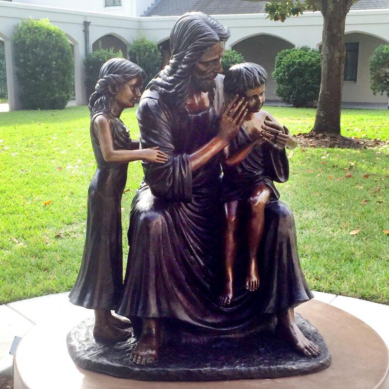 Bronze Jesus with Children Sculpture Metropolitan Galleries Inc.