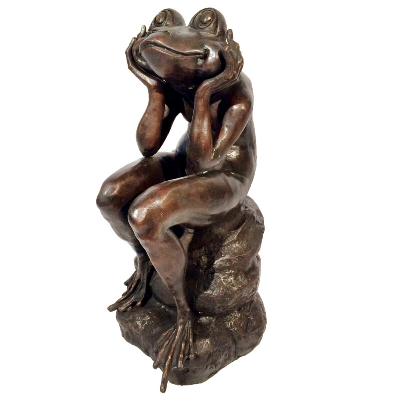 Bronze Frog Sitting on Rock Sculpture Metropolitan Galleries Inc.