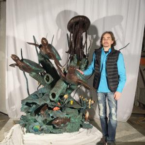 Custom Designed Bronze Sculpture Turtles and Jellyfish Sea Fantasy Fountain by Metropolitan Galleries Inc. Aquarium Nautical Beach Maxwell Taro