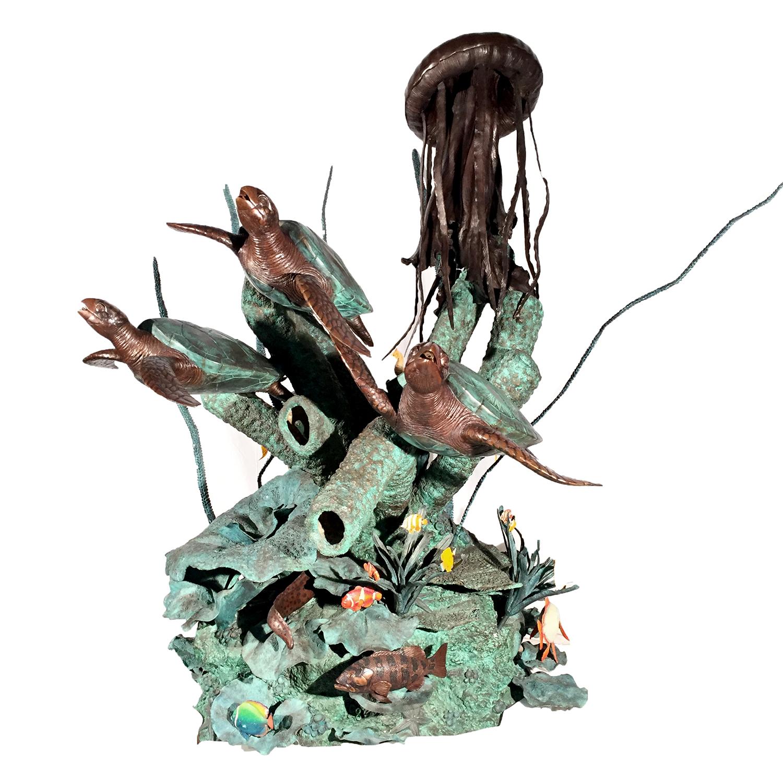Custom Designed Bronze Sculpture Turtles and Jellyfish Sea Fantasy Fountain by Metropolitan Galleries Inc. Aquarium Nautical Beach