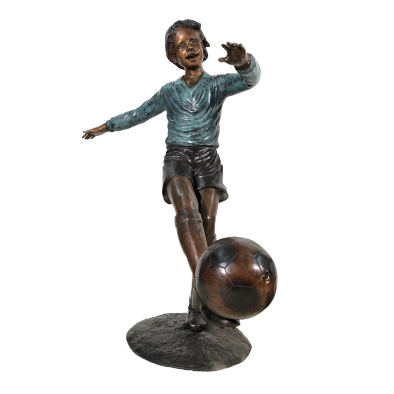 SRB050275 Bronze Boy Soccer Player Sculpture by Metropolitan Galleries Inc