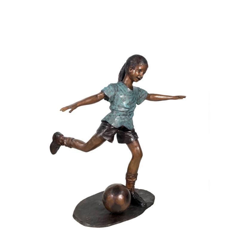 SRB050452 Bronze Girl Kicking Soccer Ball Sculpture Metropolitan Galleries Inc.