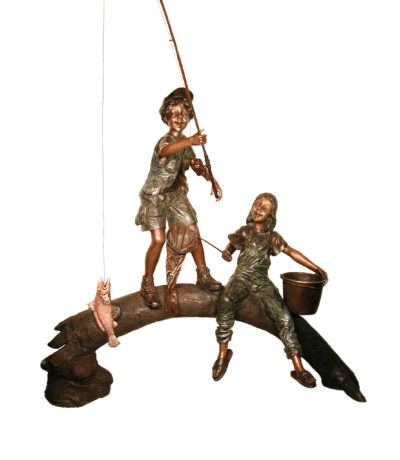 Boy and Girl Fishing on Log Sculpture Metropolitan Galleries Furniture Trade