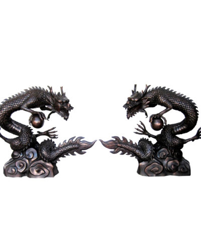 Bronze Japanese Dragon with Ball Metropolitan Galleries Furniture Trade