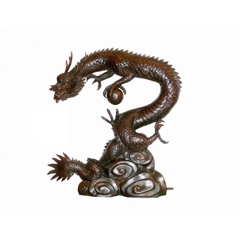 Bronze Japanese Dragon Sculpture Fountain Metropolitan