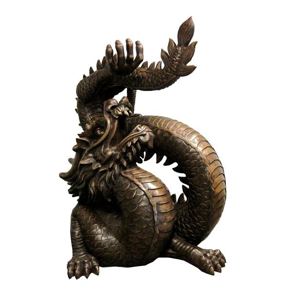 Bronze Dragon looking up Sculpture Fountain Metropolitan Galleries Furniture Trade
