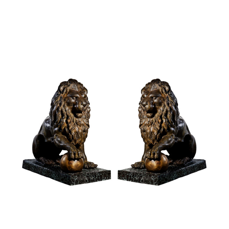 SRB992350-57 Bronze Sitting Lions with Ball Sculpture Set by Metropolitan Galleries Inc