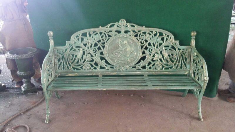Wrought Iron Bench Floral Design INB700 Metropolitan Galleries Inc.